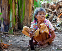 Thai woman with Machete